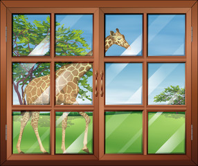 A closed window with a view of the giraffe