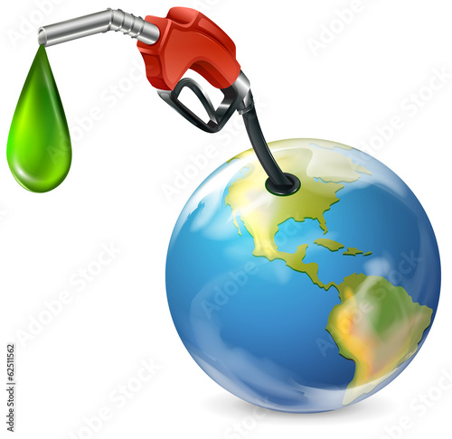 A petrol pump and a globe