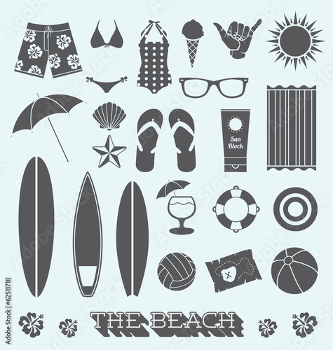 Vector Set: Under the Sun Beach Icons - 62511718