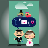 An illustration of cute wedding icons