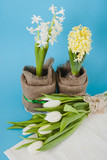 white tulips and hyacinths on a table
