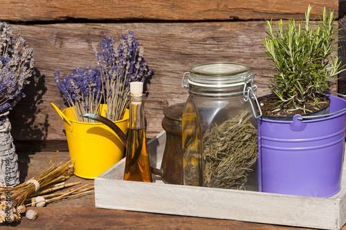 canvas print picture Sommerernte - Lavendel, Rosmarin und Mohn