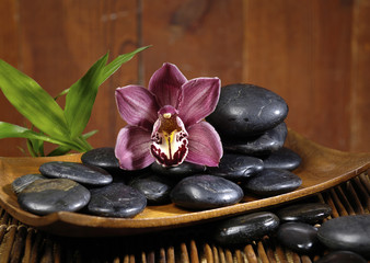 zen stones and branch orchid in the bowl on mat