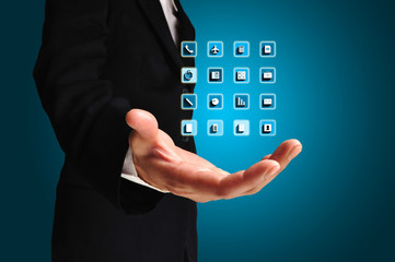 Business Man hold application icons on his hand