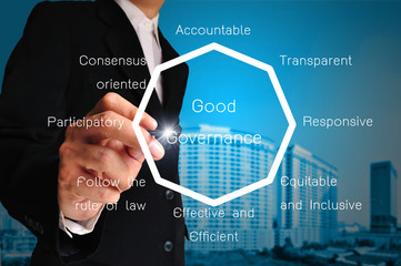 Hand of business man present chart or diagram of good governance