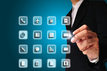Business man draw office equipment icons