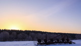 Morning winter landscape. Panorama. Time Lapse