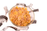 Diet weight loss breakfast. cereals with tape measure