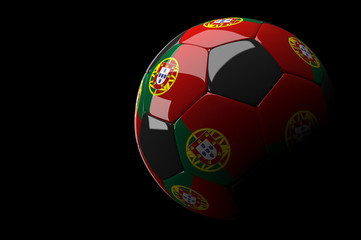 Portugal soccer ball on dark background
