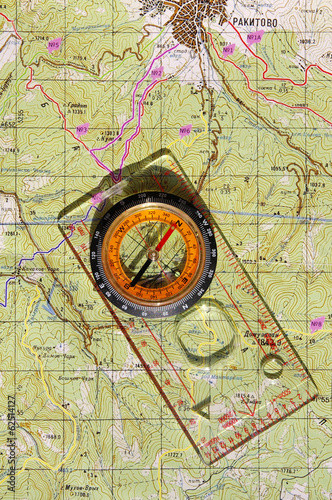 Walkers compass and on a topo map