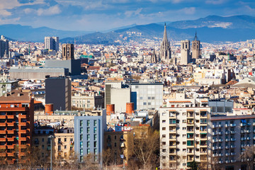 Day  view of  Barcelona cityscape from Montjuic