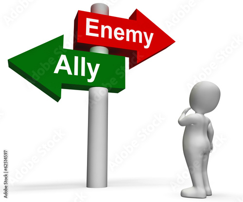 Allied Enemy Signpost Shows Friend Or Foe
