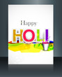 Beautiful holi brochure colorful template card background vector