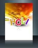 Vector Holi brochure colorful gulal template Indian festival des