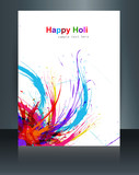 Beautiful brochure Holi on colours splash grunge wave with festi