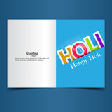 Beautiful indian festival holi greeting card with colorful styli