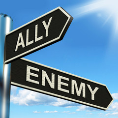Ally Enemy Signpost Shows Friend Or Adversary