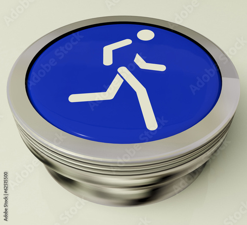 Runner Button Means Race Or Getting Fit
