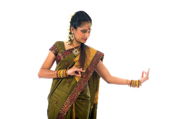 south indian female dancer isolated on white