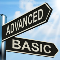 Advanced Basic Signpost Shows Product Versions And Prices