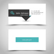 turquoise business card with dark sticker
