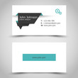 turquoise business card with dark paper sticker