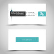 turquoise business card with sticker