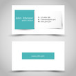 turquoise business card with square sticker