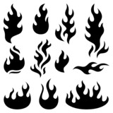 Fire flames design elements