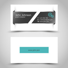 turquoise business card with slit sticker