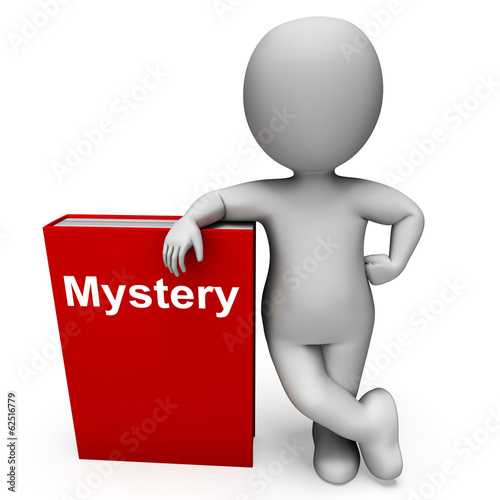 Mystery Book And Character Shows Fiction Genre Or Puzzle To Solv