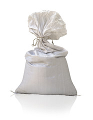Large plastic sack on white background