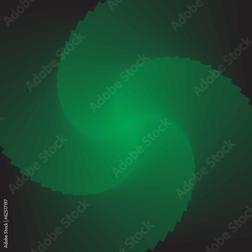 Illusion of rotation movement.  Abstract green backdrop.
