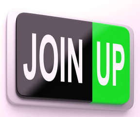 Join Up  Button Shows Joining Membership Register