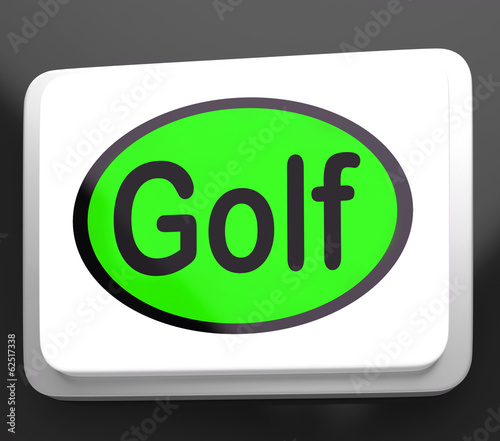 Golf Button Means Golfer Club Or Golfing