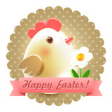 Easter chicken greetings postcard