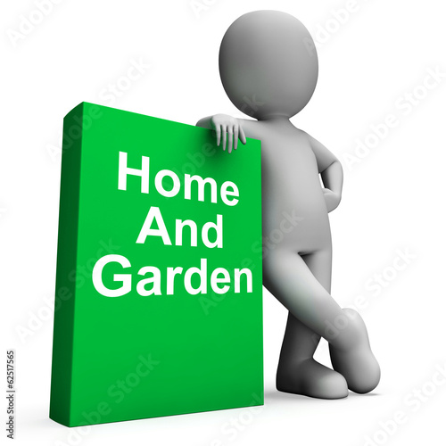 Home And Garden Book With Character Shows Household And Gardenin