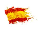 Spanish flag made of colorful splashes