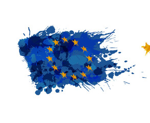 Europian Union flag made of colorful splashes