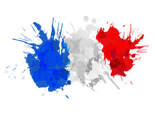 French flag made of colorful splashes