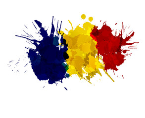 Romanian flag made of colorful splashes