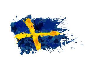 Flag of Sweden made of colorful splashes