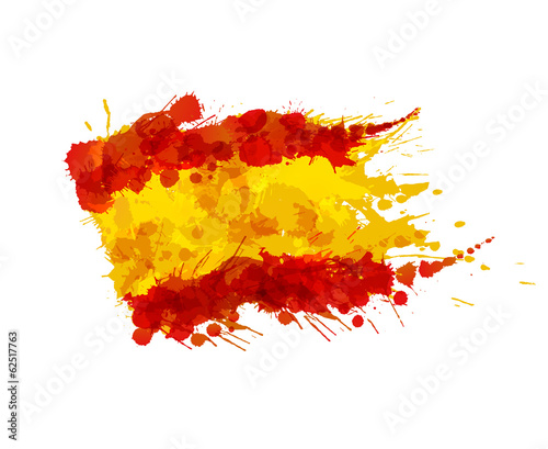 Spanish flag made of colorful splashes - 62517763