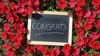 Congrats and flowers