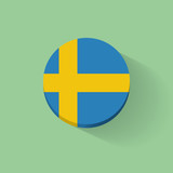 Round icon with flag of Sweden