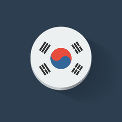 Round icon with flag of South Korea