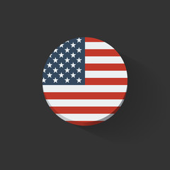 Round icon with flag of the USA
