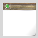 vector banner with wood texture and cloverleaf