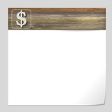 vector banner with wood texture and dollar sign