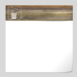 vector banner with wood texture and cup of coffee